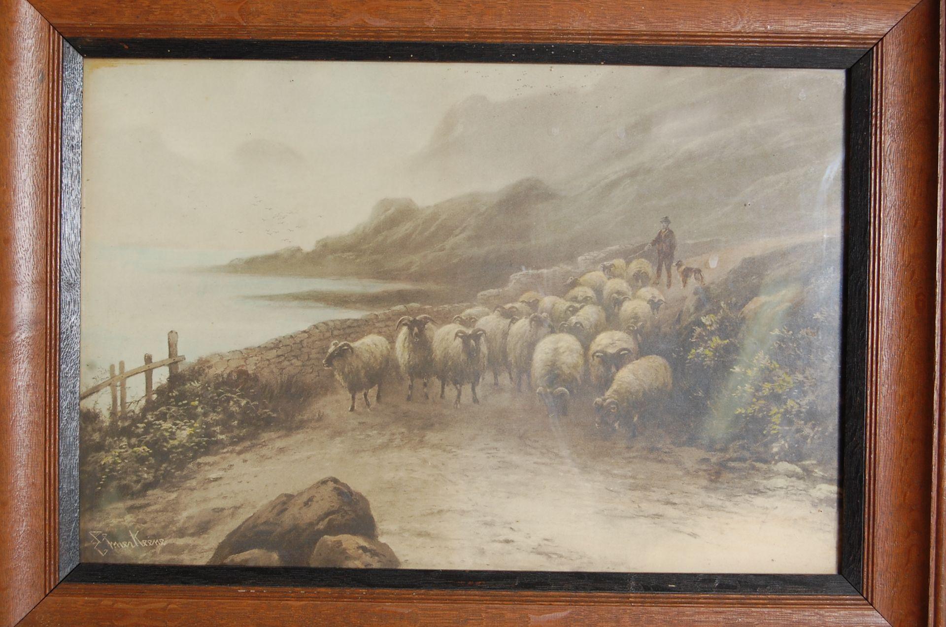 AFTER EZRA ELMER KEENE ( 1853 - 1929 ) A PAIR OF PRINTS / LITHOGRAPHS - Bild 5 aus 7