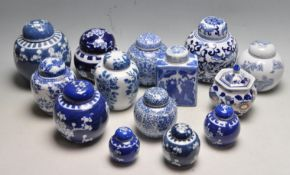 LARGE COLLECTION OF CHINESE ORIENTAL BLUE AND WHITE GINGER JARS