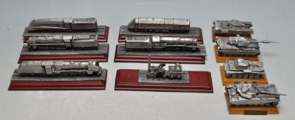 COLLECTION OF ROYAL HAMPSHIRE ART FOUNDRY PEWTER TRAINS AND LOCOMOTIVES