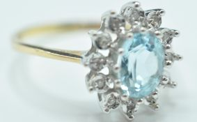 9CT GOLD AQUAMARINE & DIAMOND CLUSTER RING