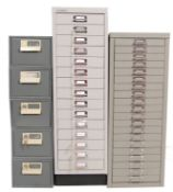 COLLECTION OF THREE RETRO VINTAGE METAL FILING CABINETS