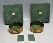 TWO VINTAGE LATE 20TH CENTURY METAL CHAMPAGNE COASTERS