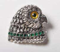STAMPED STERLING SILVER OWL SHAPED BROOCH