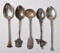 FIVE ANTIQUE & 20TH CENTURY SILVER SPOONS