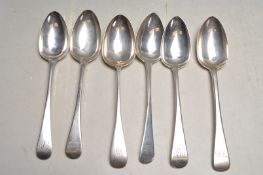 SIX 19TH CENTURY ANTIQUE SILVER BASTING SPOONS