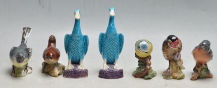 TWO EARLY 20TH CENTURY CHINESE PORCELAIN TURQUOISE DUCKS AND FIVE BESWICK BIRD FIGURINES