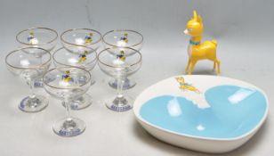 SEVEN RETRO 20TH CENTURY BABYCHAM GLASSES, LARGE ASHTRAY AND PLASTIC FIGURINE