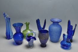 19TH CENTURY VICTORIAN AND 20TH CENTURY HAND-BLOWN COLOURED GLASS VASES