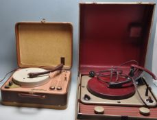 A PAIR OF VINTAGE RETRO 1960S RECORD PLAYERS TO INCLUDE A REGENTONE HANDY-GRAM