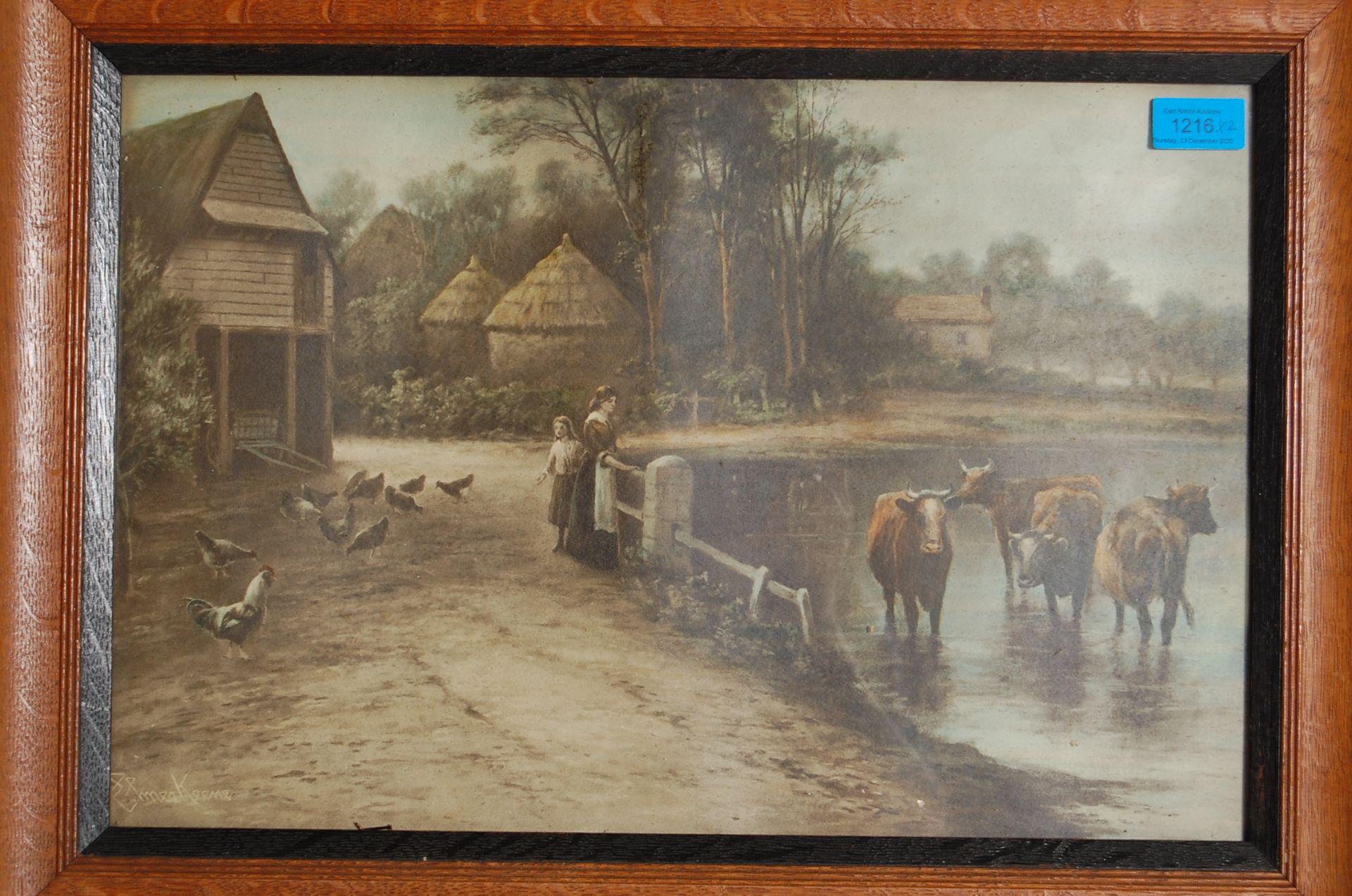 AFTER EZRA ELMER KEENE ( 1853 - 1929 ) A PAIR OF PRINTS / LITHOGRAPHS - Bild 3 aus 7