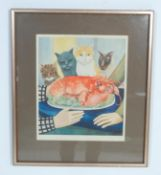 BERYL COOK ' FOUR HUNGRY CATS ' SIGNED LITHOGRAPH PRINT