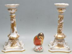 PAIR OF ROYAL CROWN DERBY AVES PATTERN SINGLE SCONCE CANDLESTICKS AND A KINGFISHER PAPERWEIGHT