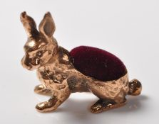 STAMPED 925 SILVER PINCUSHION IN THE FORM OF A HARE