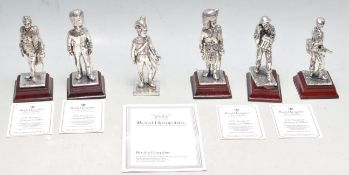 SIX ROYAL HAMPSHIRE ART FOUNDRY PEWTER MILITARY FIGURES