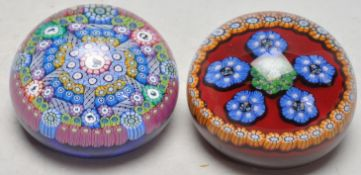 TWO VINTAGE LATE 20TH CENTURY STUDIO ART GLASS PAPERWEIGHTS