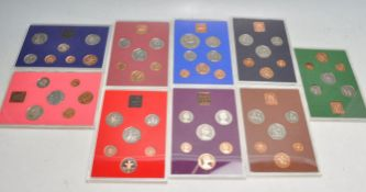 NINE 1970'S AND 80'S GREAT BRITAIN AND NORTHERN IRELAND COIN SETS