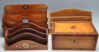 THREE 20TH CENTURY FAILING DESK TOP POCKET AND A RECTANGULAR WOODEN BOX