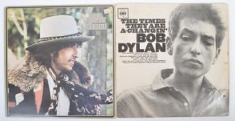 BOB DYLAN - TWO VINYL RECORD ALBUMS THE TIMES THEY ARE A-CHANGIN' AND DESIRE