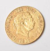 1817 GEORGIAN GOLD SOVEREIGN COIN