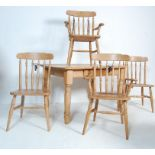 VICTORIAN STYLE PINE DINING TABLE AND CHAIRS SET