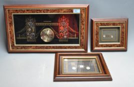 THREE VINTAGE 20TH CENTURY KEN BROADBENT WATCH PARTS COLLAGES PICTURE FRAMES
