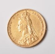 1891 VICTORIAN 22CT GOLD FULL SOVEREIGN COIN