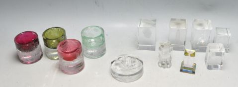 GROUP OF 3D HOLOGRAM GLASS PAPERWEIGHTS