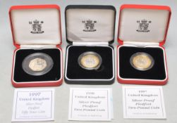 THREE GREAT BRITAIN SILVER PIEDFORT COINS