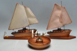PAIR OF RETRO BOAT LAMPS AND NAUTICAL NUT CRACKER