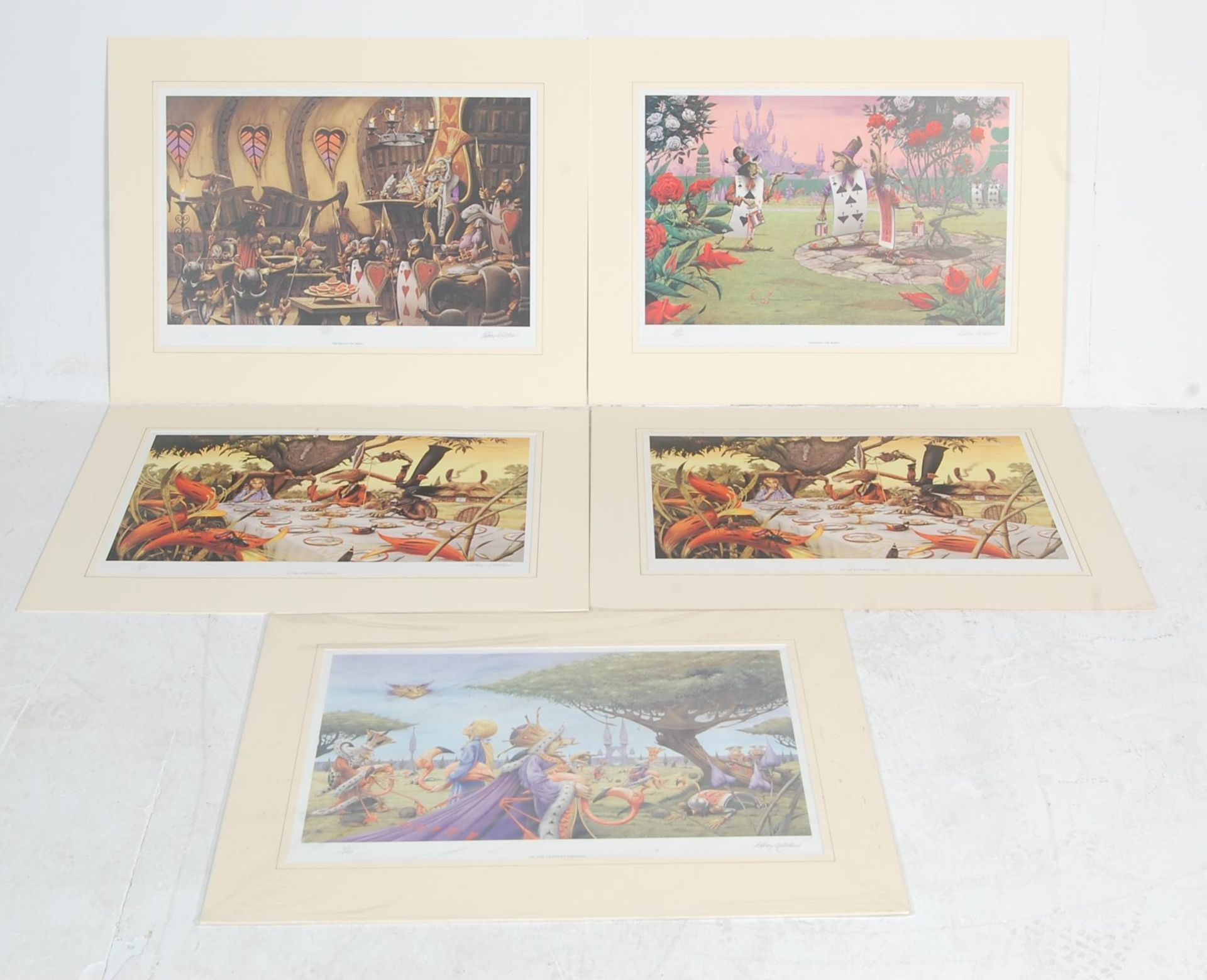 AFTER RODNEY MATTHEWS - FOUR LIMITED EDITION ALICE AND WONDERLAND SIGNED