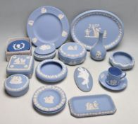 COLLECTION OF WEDGWOOD JASPERWARE POTTERY TRINKET BOXES AND PLATES