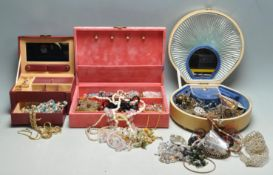 COLLECTION OF VINTAGE 20TH CENTURY COSTUME JEWELLERY IN THREE VINTAGE JEWELLERY BOXES