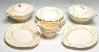 EARLY 20TH CENTURY ART DECO TITIAN WARE HAND PAINTED POLKA DOT DINNER SERVICE