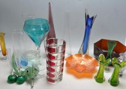 LARGE COLLECTION OF VINTAGE 20TH CENTURY STUDO ART GLASS VASES