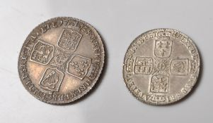 18TH CENTURY GEORGIAN SHILLING AND SIXPENCE