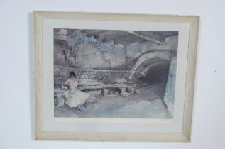 WILLIAM RUSSELL FLINT 1880-1969 PRINT OF A YOUNG GIRL READING A LETTER