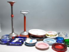 LARGE COLLECTION OF VINTAGE RETRO 20TH CENTURY CERAMIC AND GLASS PUB ASHTRAYS