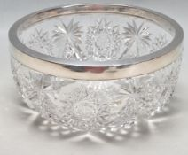1922 BIRMINGHAM SILVER AND CUT GLASS FRUIT BOWL BY JOHN GRINSELL & SONS