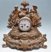 EARLY 20TH CENTURY BRASS FRENCH GARNITURE MANTEL CLOCK
