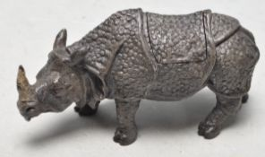 VINTAGE STYLE BRONZE INKWELL IN THE SHAPE OF A RHINOCEROS