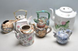 LARGE COLLECTION OF VINTAGE ORIENTAL TEAPOTS