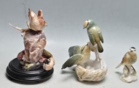 GROUP OF THREE 20TH CENTURY CERAMIC BIRD ORNAMENTS