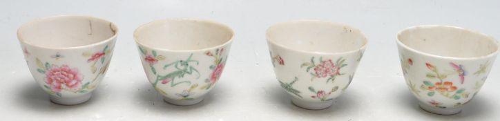 SET OF FOUR ANTIQUE QIANLONG CHINESE PORCELAIN TEA CUPS