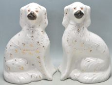 PAIR OF ANTIQUE 19TH CENTURY STAFFORDSHIRE MANTEL DOGS
