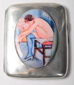 ANTIQUE STERLING SILVER CIGARETTE CASE WITH NUDE ENAMEL PANEL
