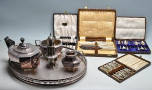 COLLECTION OF EARLY AND LATER 20TH CENTURY SILVER PLATED TABLE WARE