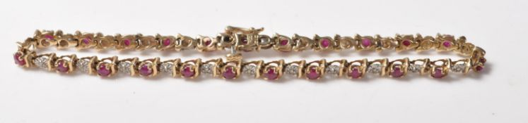 9CT GOLD RED STONE AND DIAMOND LINE BRACELET
