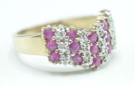 9CT GOLD PINK AND WHITE STONE RING