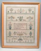 EARLY 19TH CENTURY NEEDLEPOINT SAMPLER 1834