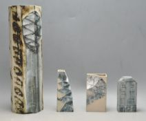 FOUR 20TH CENTURY CARN CORNWALL ART POTTERY VASES